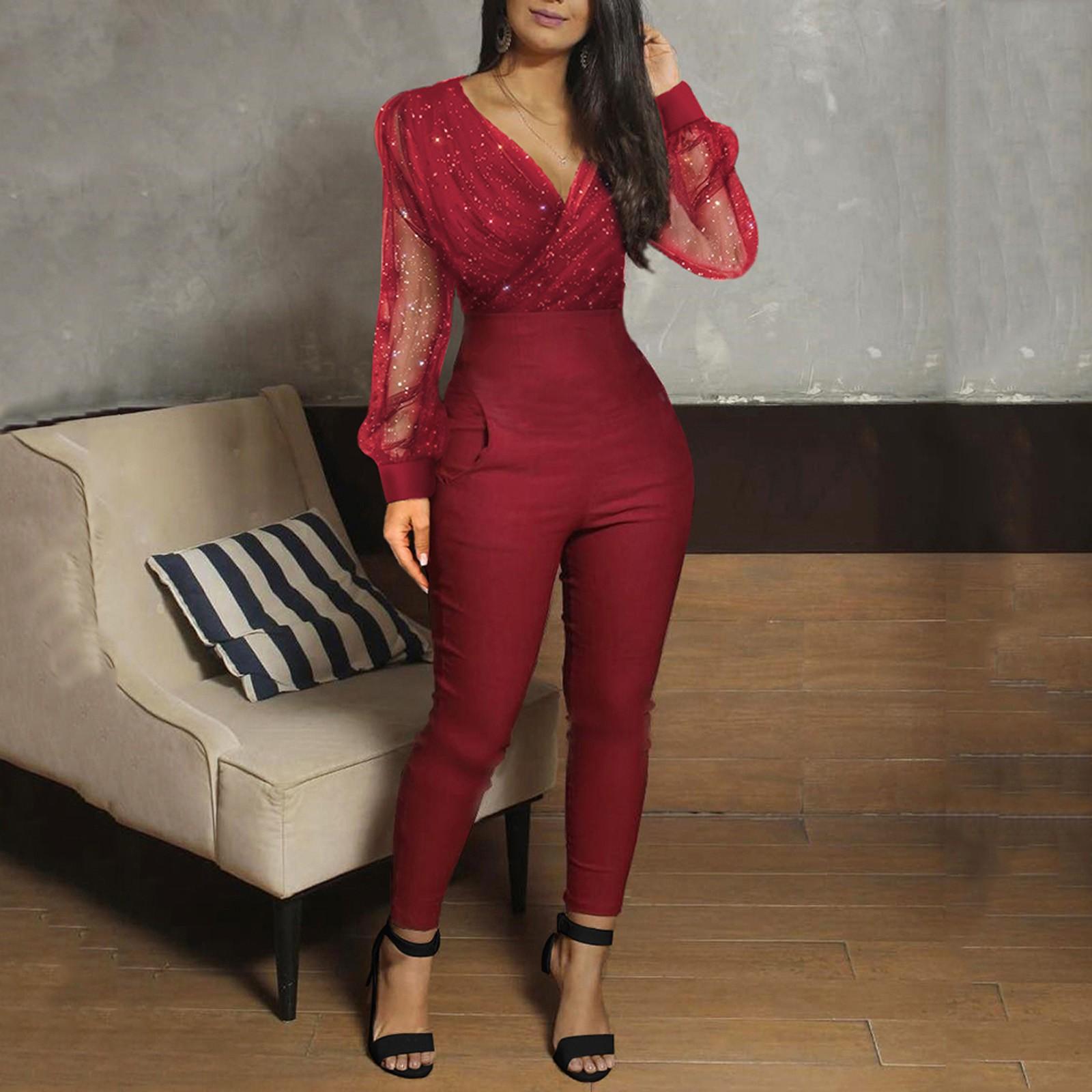 40# Women's Bodysuit Fashion V neck Jumpsuit women Sequined Mesh Long Rompers Long Sleeve Party Pocket ropa de mujer