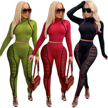 Echoine Autumn Women Mesh Patchwork Activewear Two 2 Piece Set Turtleneck Crop Tops Pants Sporty Fitness Matching Set Outfits