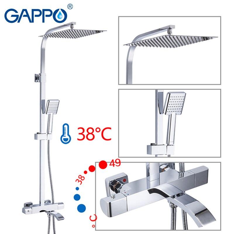 GAPPO Chuveiro Torneiras Termostática Conjunto de Chuveiro Do Banheiro Termostática Banho de Chuveiro Chuveiros Cachoeira Chrome Mixer Água Da Torneira