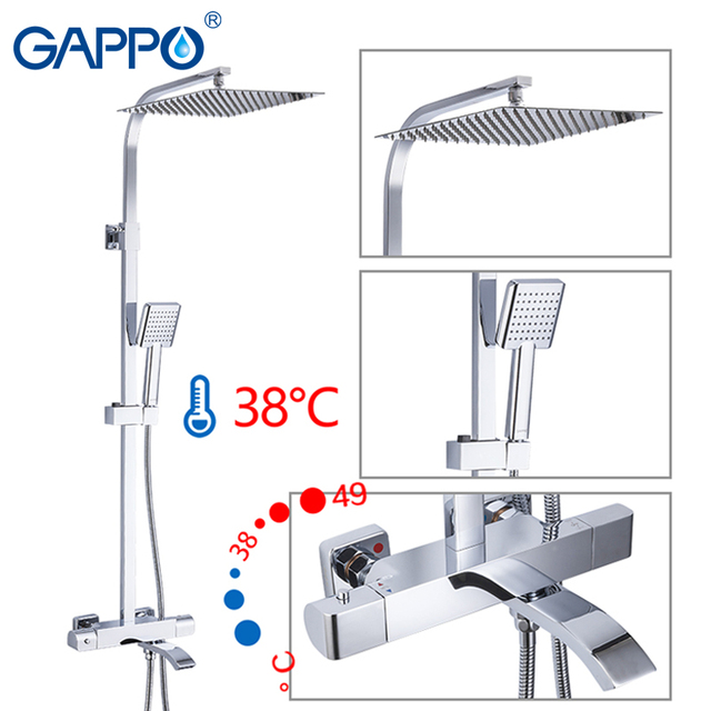 GAPPO Shower Faucets Thermostatic Bathroom Shower Set Thermostatic Bath Shower Waterfall Shower Heads Chrome Mixer Water Tap