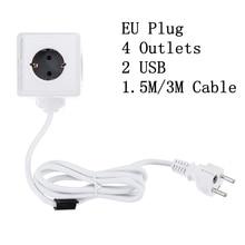 PowerCube Buchse EU Stecker Magie Cube Smart Power Streifen Reise Erweitert Adapter 2 USB 5V 2,1 A Ports 4 outlets 150/300CM Kabel