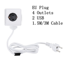 PowerCube 소켓 EU 플러그 매직 큐브 스마트 전원 스트립 여행 확장 어댑터 2 USB 5V 2.1A 포트 4 콘센트 150/300CM 케이블