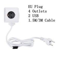 PowerCube שקע האיחוד האירופי Plug קסם קוביית חכם כוח רצועת נסיעות מורחב מתאם 2 USB 5V 2.1A יציאות 4 חנויות 150/300CM כבל