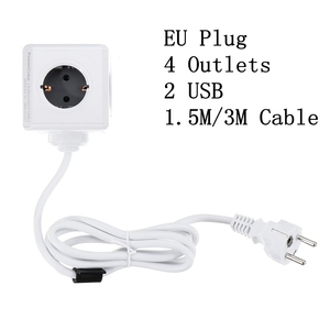 Image 1 - PowerCube toma de corriente inteligente Enchufe europeo, tira de potencia inteligente, adaptador extendido de viaje, 2 puertos USB 5V 2.1A, 4 salidas, Cable de 150/300CM
