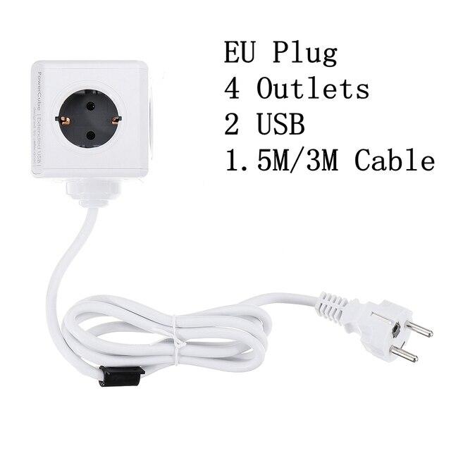 PowerCube toma de corriente inteligente Enchufe europeo, tira de potencia inteligente, adaptador extendido de viaje, 2 puertos USB 5V 2.1A, 4 salidas, Cable de 150/300CM
