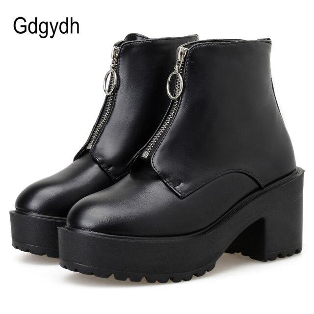 Gdgydh Fashion Zipper Block Heel Boots Women Platform Shoes Short Boots Woman Autumn Leather Black Gothic Style High Quality