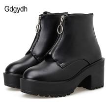 Gdgydh moda zíper bloco botas de salto feminino sapatos plataforma botas curtas mulher outono couro preto estilo gótico alta qualidade