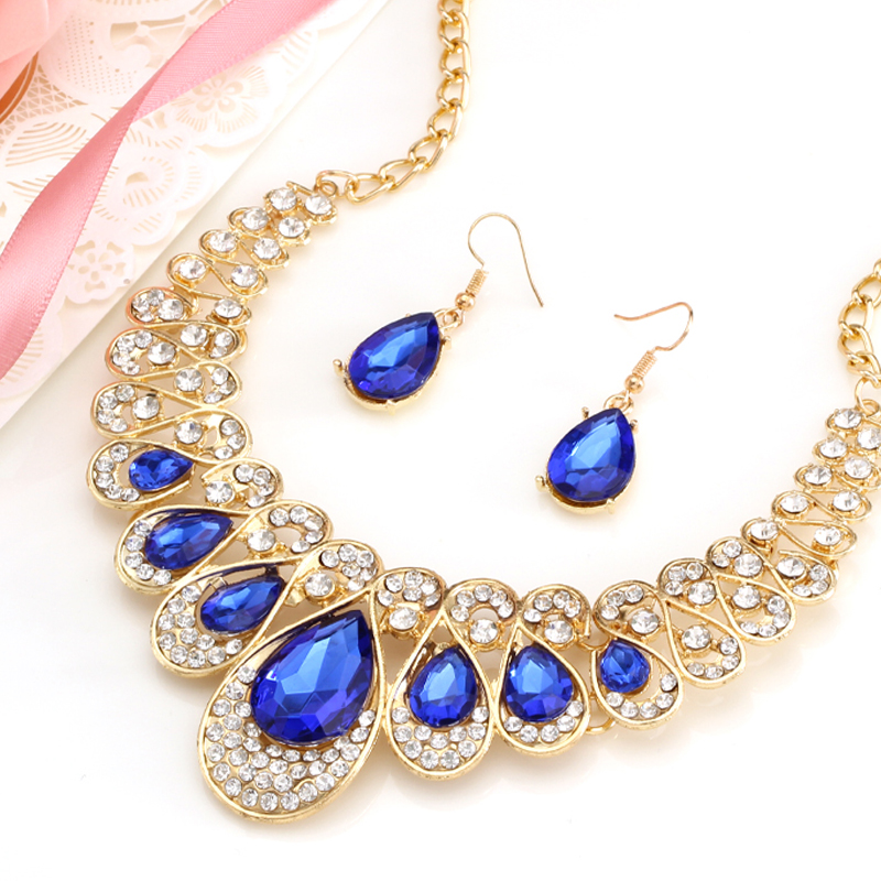 Fashion Gold Color Water Drop Pendant Chocker Necklace Earrings Wedding Bridal Crystal Stone Jewelry Sets