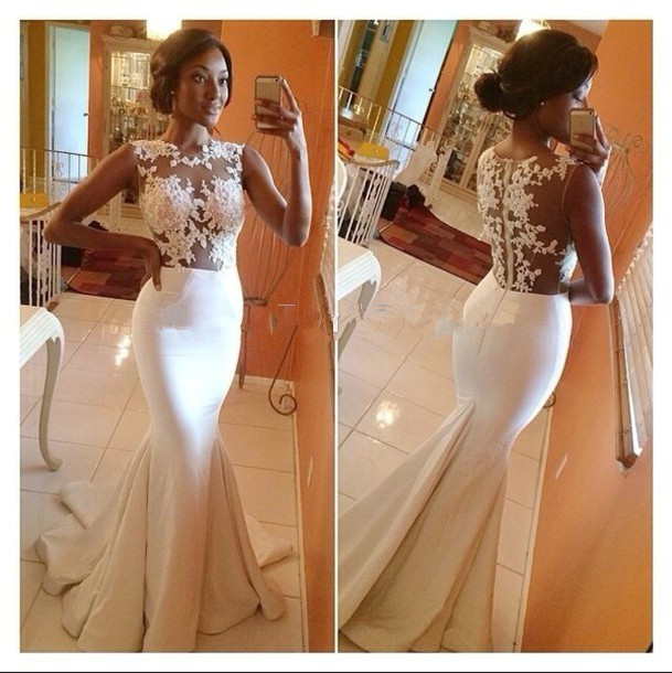 Real Photos Mermaid Elegant O-Neck Sleeveless Floor-Length Back Sheer White Lace Evening Gown 2018 Mother Of The Bride Dresses