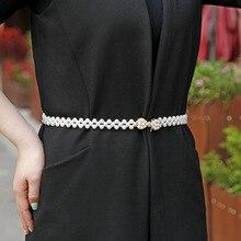 Fashion Elegant Women Imitation Pearl Belts Waist Elastic Buckle Chain Female Dress Belt Clothing Accessories