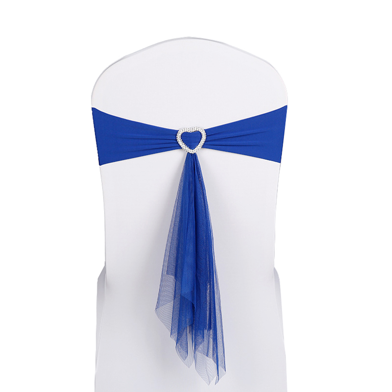 New 50pcs/lot Wine Red/White/Blue Stretch Lycra Chair Band Heart Buckle With Muslin Sashes For Wedding Party Banquet Decoration