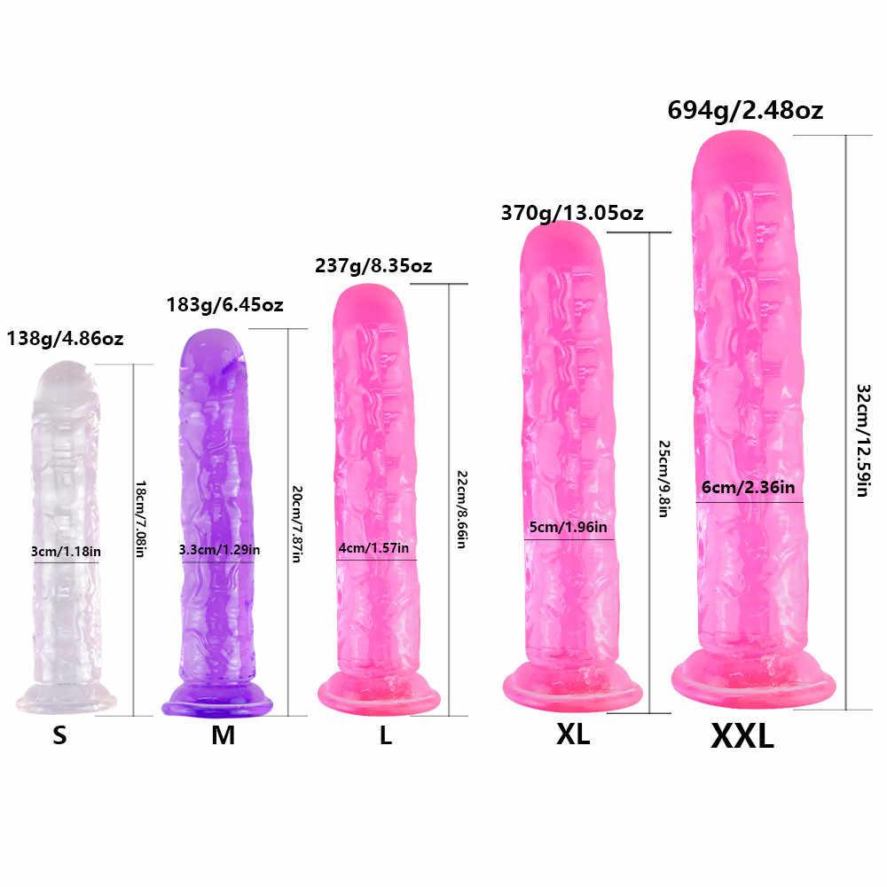 Realistis Dildo dengan Super Cangkir Hisap Kuat Erotis Jelly Dildo Mainan Seks untuk Wanita Buatan Penis G Spot Simulasi
