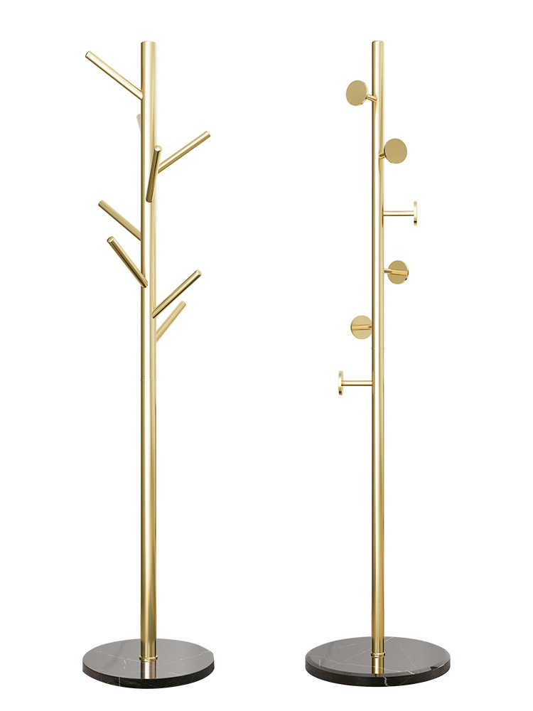 Stainless Steel Coat Rack Simple Modern Nordic Light Luxury Hanger Cabinet Floor-standing Bedroom Marble Hanger
