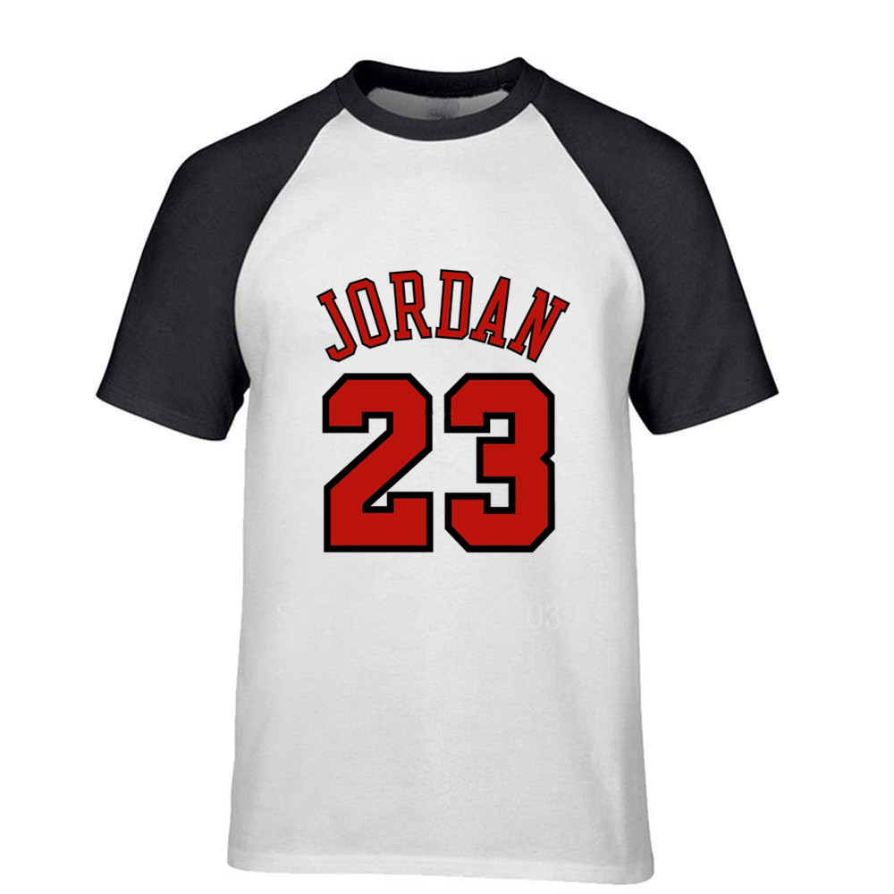 Men's Football Shirt Off White Gym Couture Hip Hop 100% Print Tee Shirt <font><b>Jordan</b></font> <font><b>23</b></font> Multi color raglan sleeve T-shirt Moletom image