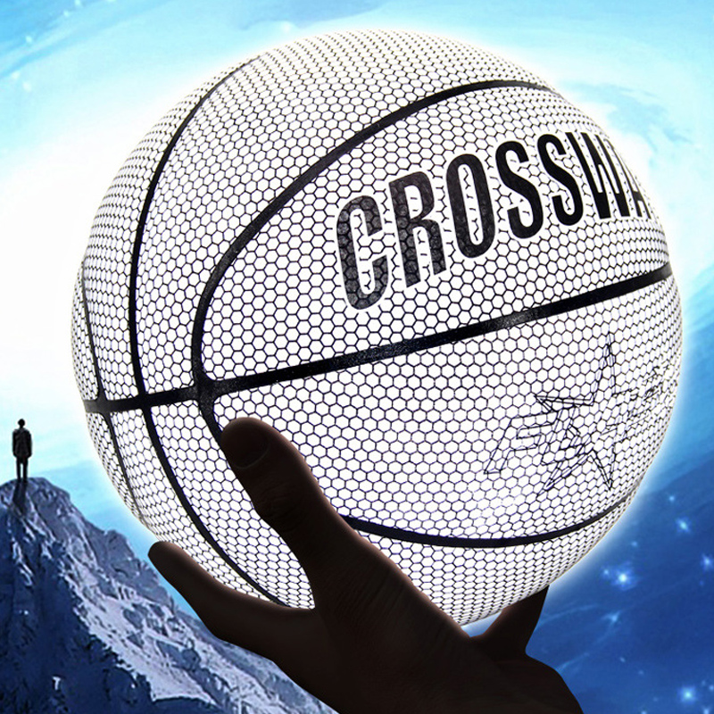 Ball 7# Street Basketball Nightlight Reflector Training Compete Basket Ball TikTok PU Leather Indoor Outdoor Baloncesto Basquete