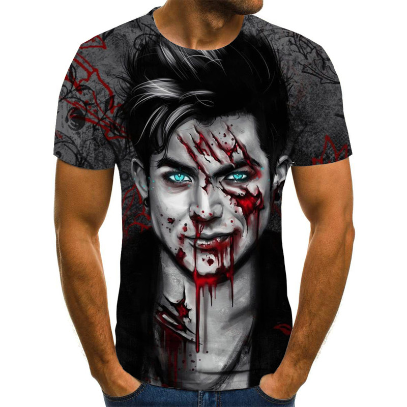 Fashion T Shirt Men/women Zombie Horror 3D Print T-shirts Short Sleeve Harajuku Style Tshirt Streetwear Tops