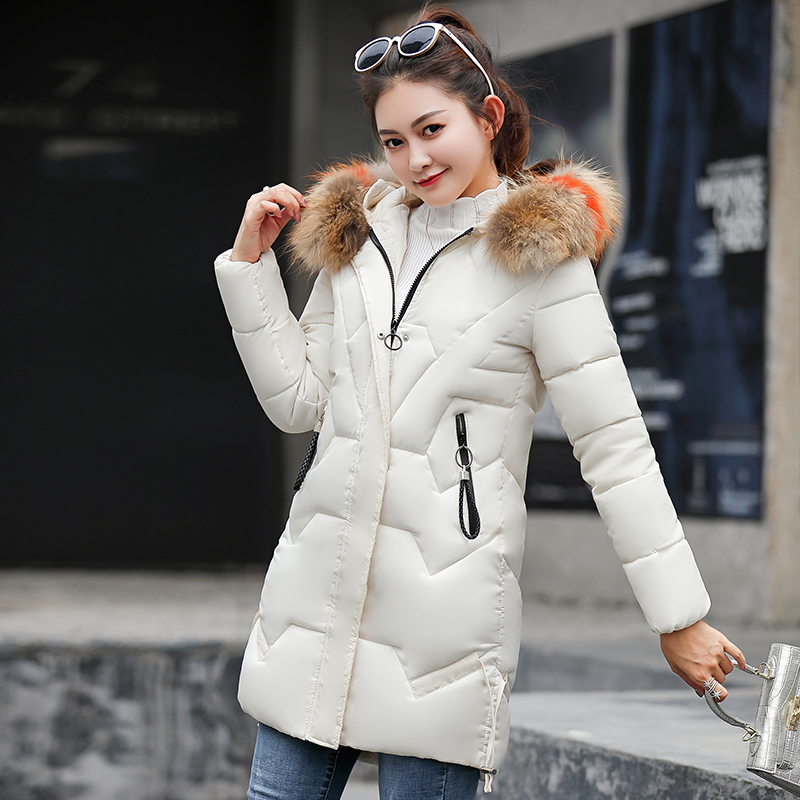 Korean style Warm Casual Loose Slim Female Large size Cotton Coat 2019 Fashion Women Winter Fur Long   Parka   Hooded Thick Jacket