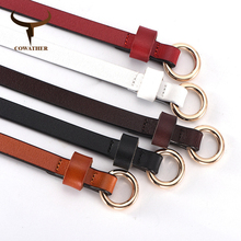 COWATHER cow leather women belt top quality thin female strap fashion design cow