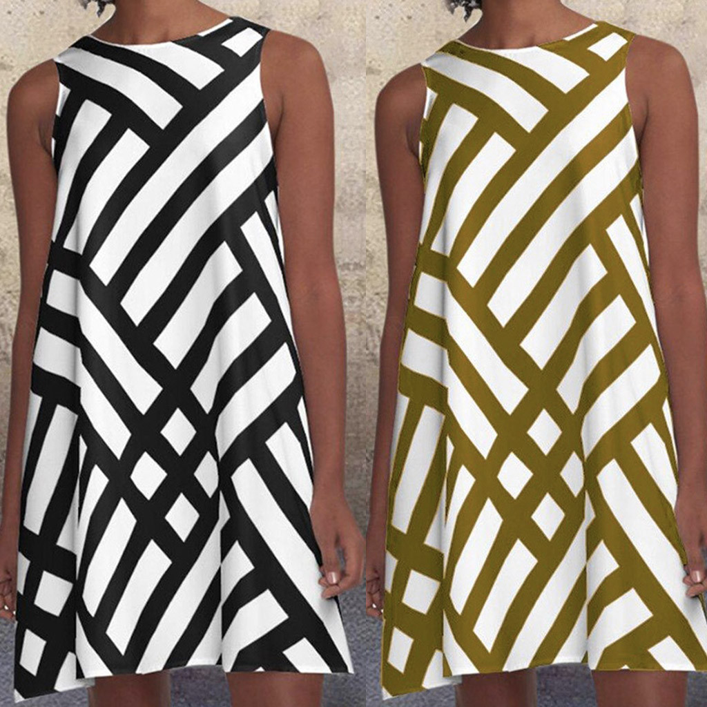 Fashion Striped Geometric Print Women's Dress O Neck Sleeveless Pattern Print  A-Line Dress Women Beach Party Dresses 2021#XX