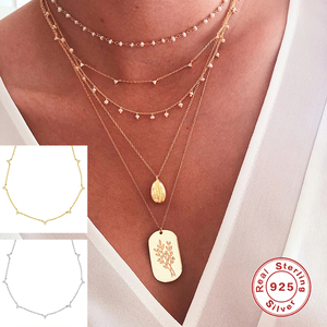 925 Sterling Silver European and American Collares Pendant Necklaces For Woman Birthday Valentine's Day Wedding Link Chain Gift