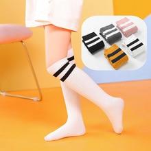 Стиль, корейский стиль, полу-цилиндр, студенческие гольфы два полоски, широкие, вертикальные полоски, летние, чистый хлопок, детские носки
