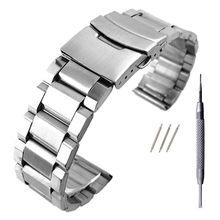 Relógio de aço inoxidável pulseira de pulso pulseira de metal cor prata com fecho dobrável para mulher 20/22/24mm