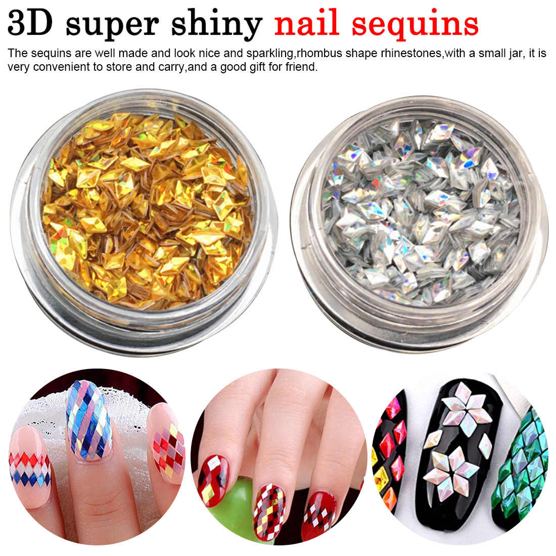 1g/box Holo 3D Diamond Sequins Super Shiny Triangle Paillette Nail Art Decorations AB Chameleon Nail Glitter Sequins