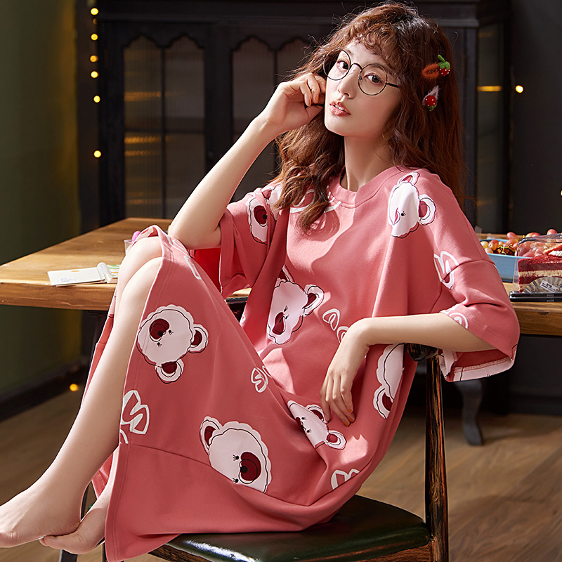 BZEL Red Bear Sleepwear For Women Round Neck Nightgowns New Spring Summer Nightdress Soft Cotton Nighty Plus Size Pijamas Pyjama