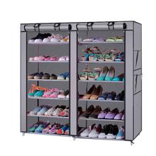6-rząd 2-linia 12 kraty dachowe do zatrzymywania włókniny materiałowy stojak na buty szary odporny na kurz przenośne ze stali do układania w stos na buty stojak na buty do przechowywania butów tanie tanio CN (pochodzenie) Shoe Storage Montaż Meble do domu Meble do salonu Minimalistyczny nowoczesny Alloy Plastic 6 Layers 12 Lattices