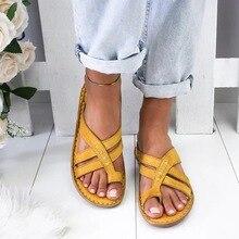 Sandalias informales para Mujer, Sandalias planas de cuero Vintage, cómodas, Retro, con tiras, con hebilla, para verano, playa, Sandalias para Mujer