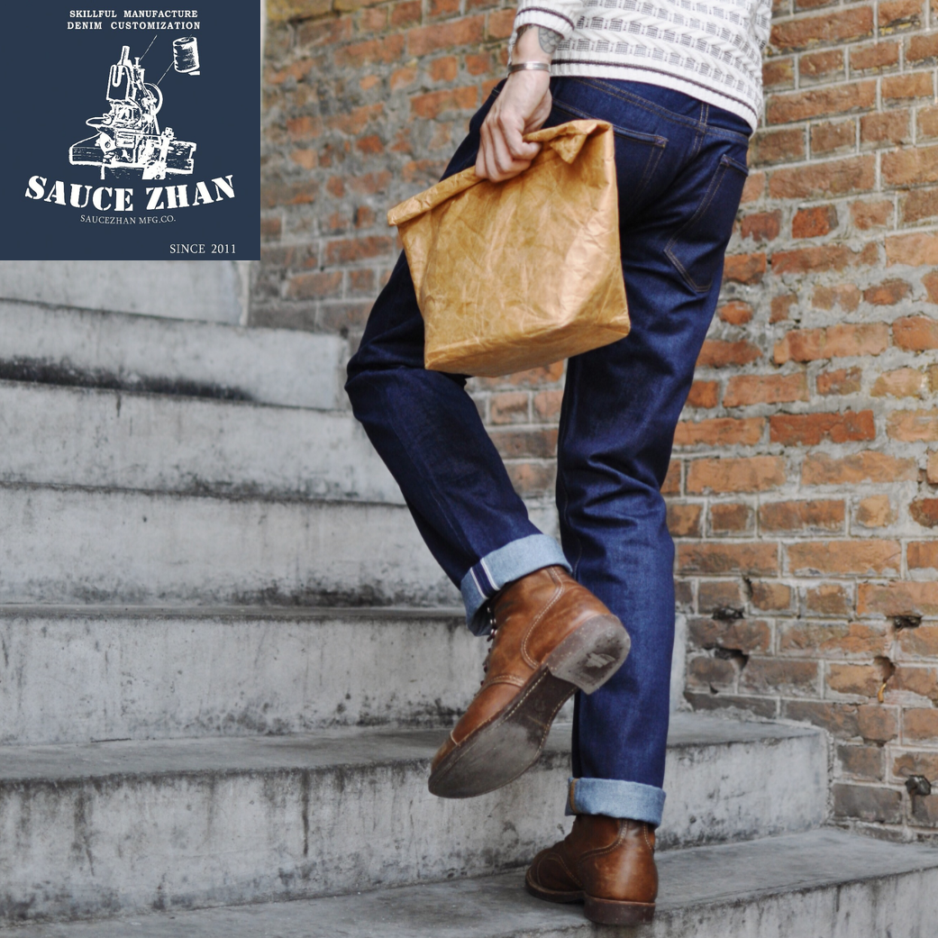 SauceZhan 309XX-S Summer Men's Jeans Slim Fit Jeans Selvedge Jeans Indigo Jeans Jeans Washing Denim Jeans  Skinny Jeans Men