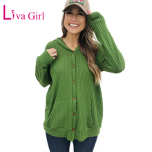 LIVA GIRL Black/Red/Green Casual Open Front Pocket Button Down Knit Cardigan Women Sweaters Coat 2019 Long Sleeve Sueter Mujer