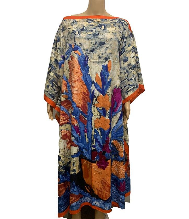 Dresses Length 130cm x 130 cm traditional Printed Silk kaftan women Maxi dresses batwing Sleeve Full length Bohemian dress
