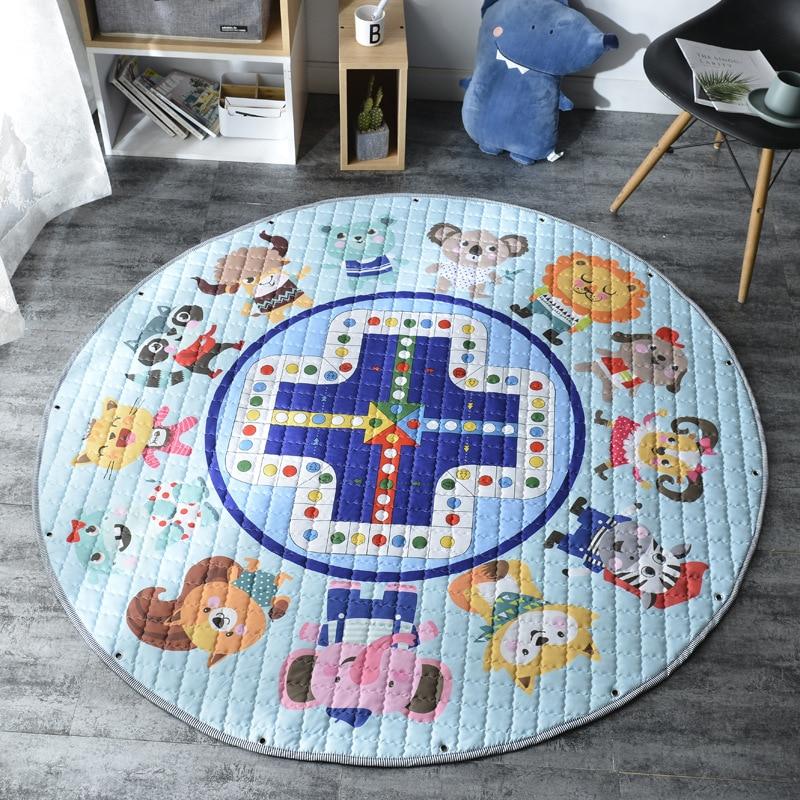 Hd73171acc01b4316b85b04c602c512d5e Kid Soft Carpet Rugs Cartoon Animals Fox Baby Play Mats Child Crawling Blanket Carpet Toys Storage Bag Kids Room Decoration