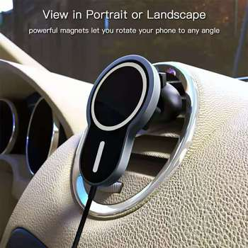 15W Car Holder For iphone 12 12 Pro 12Pro Max 12mini Magneti Wireless Charger Magnetic Phone Airvent Magnet Adsorbable Car Mount image