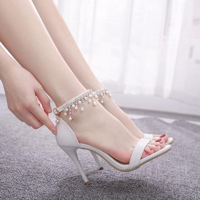 Pha lê Thời Trang Giày Sandal Nữ Cao Gót Mùa Hè Người Phụ Nữ Bơm Dây Đeo Mắt Cá Chân Gợi Cảm ĐẦM DỰ TIỆC Trắng Ladie Đầm KÍCH THƯỚC Giày 42