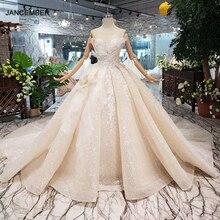 בודהה מיוחד חתונה שמלת 2020 o צוואר שרוולים keyhole חזרה בעבודת יד כדור שמלת כלה שמלות חתונה gownsgelinlik HTL304