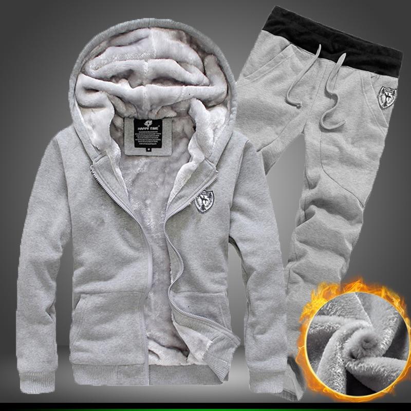 Men's Winter Sportwear Plus Velvet Thickening Hoodies Sweater Jacket Sweatpants 2pc Suit Set Tracksuit Homme 3XL Large Size SA-8