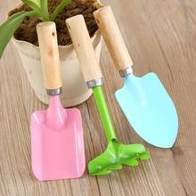 3Pcs Mini Home Garden Tools Children Gardening Kit Beach Sand Shovels Toys Wooden Handle Spade