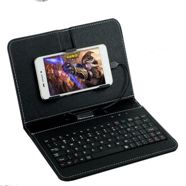 General Mini USB Wired Keyboard Flip Holster Case For Android Phone With OTG For Mobile Phone 4.8-6.0
