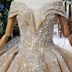 Image 4 - HTL660 short sleeved ball gown wedding dresses cathedral train sequined  off the shoulder wedding dress vestido de casamento
