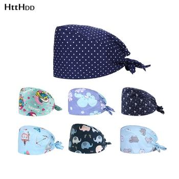 cap new cotton breathable multicolor printed frosted cap unisex laboratory cap adjustable print cap cute elastic cap beauty care cap