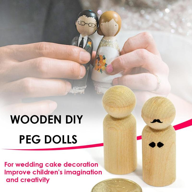10pcs/Set Wooden DIY Peg Doll Wedding Home Handmade Puppet Kid's Party Favor Wedding Home Decor Wood Craft People Nesting Sets