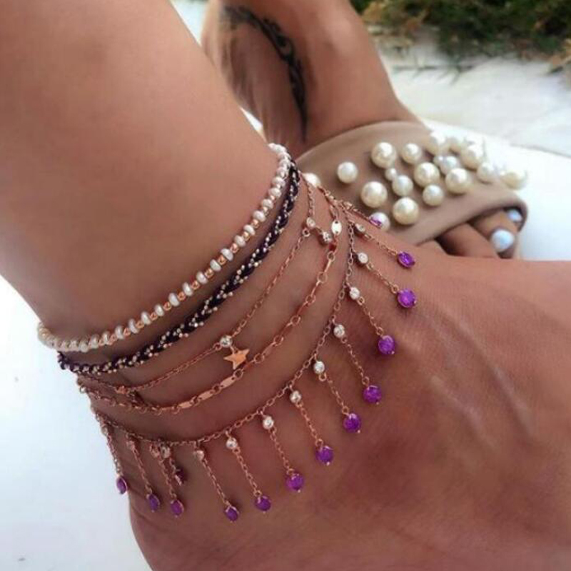 Tocona Elegant Star Crystal Tassel Anklets for Women Boho Jewelry Layered Chain Bracelet on the Leg Sandals Accessories 9085