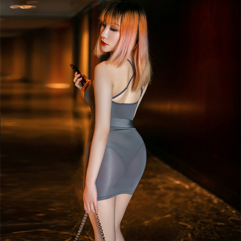 Ice Silk Secretary Fancy Bodysuit See Through Leotard Mini Skirt Sets Nightclub Party Transparent Costume Smooth Sexy Bodycon 1