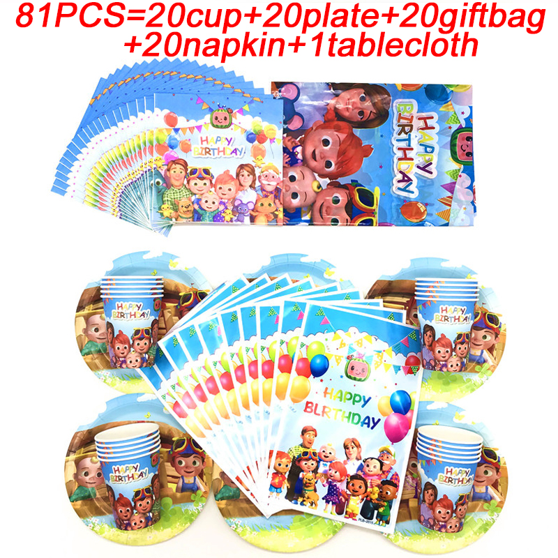 Cocomelon Family Theme Baby Shower Party Supplies Table Decoration Set Kids Birthday Gift Bags Party Plate Cup Napkin Tablecloth