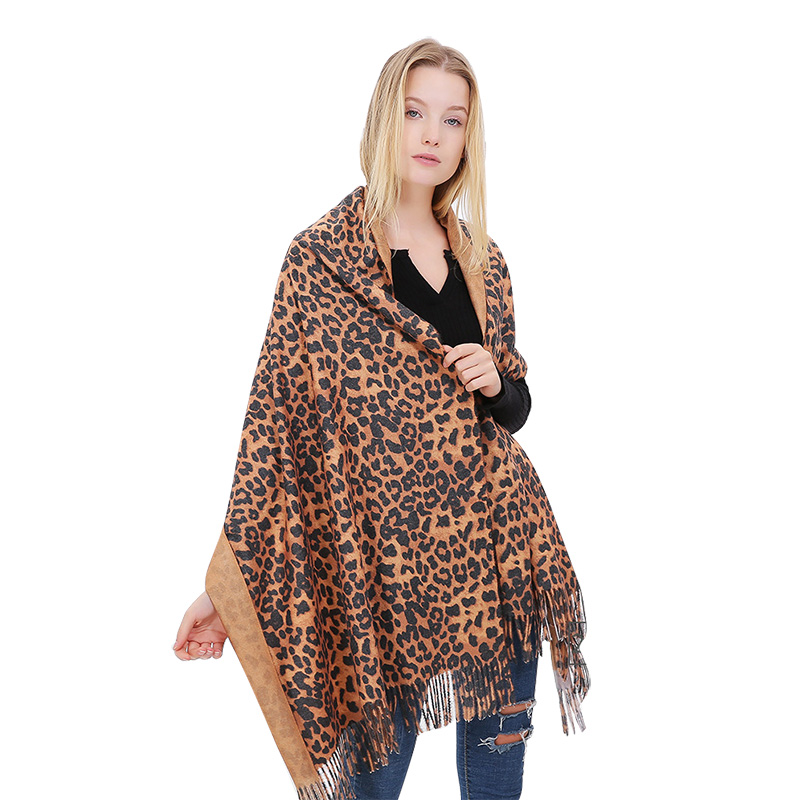 Winter Leopard Cashmere Scarf For Women Warm Thick Ladies Scarf Shawl Long Tassel Female Poncho Stole Print Soft Pashmina Tippet