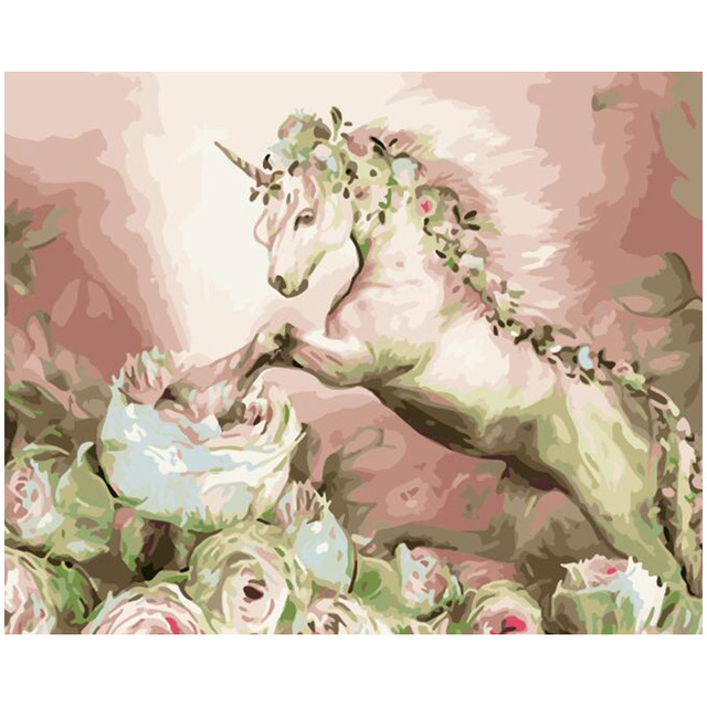 Painting By Numbers Unicorn flowers Fantasy