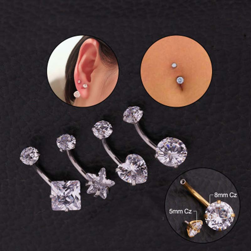 Imixlot Belly-Button-Rings Piercing Body Surgical Steel Jewelry Navel Internally-Threaded