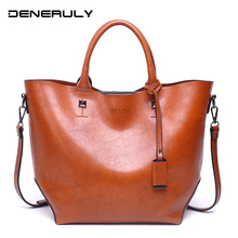 Vintage Leather Tote Bags For Women High Quality Handbags Capacity Shoulder Oil Wax Soft